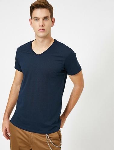 Koton V Yaka %100 Pamuk Slim Fit Basic T-Shirt Lacivert